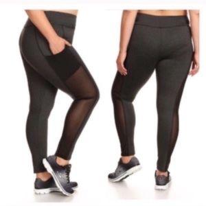 Pants - (Plus) Mesh panel athletic pants + pockets